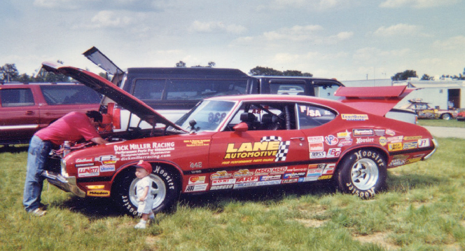 Jim Kaekel and son Rodney with Jim's 70 Olds 4-4-2.