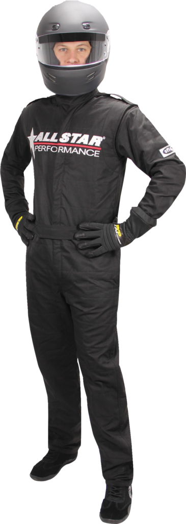 Proper safety gear includes a racing suit and helmet.