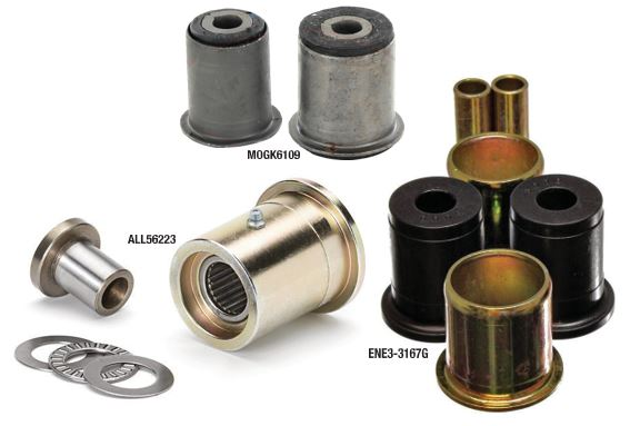 Different types of control arm bushings.