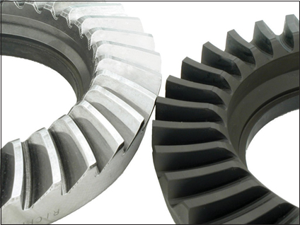 Comparison of ring gear with Supra-Fin ISF superfinishing and standard ring gear.