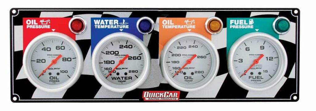 Gauges for oil pressure, water temperature, oil temperature, and fuel pressure, each with a warning light.