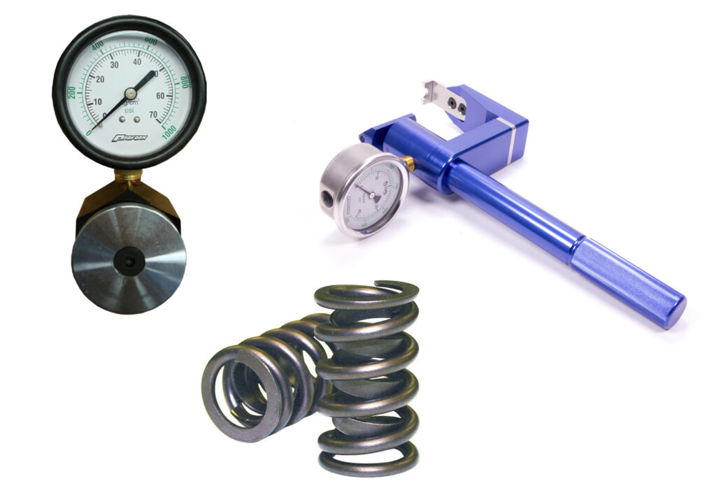 Valve springs and tools to test spring pressure.