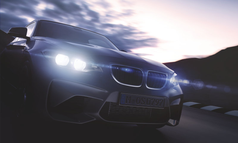 BMW with factory-equipped LED headlights.
