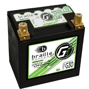 Braille Battery G30 lithium-ion batteries provide comparable power to a lead-acid battery, but weigh 15 pounds less.