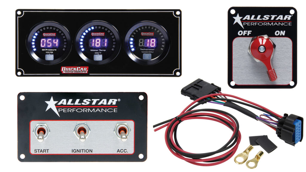 Components like QuickCar 3-gauge digital gauge panel, Allstar Performance battery disconnect switch, Allstar Performance ignition switch panel, and QuickCar ignition wiring harness simplify wiring tasks.