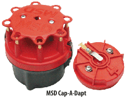 Quality components like a MSD Cap-A-Dapt distributor cap and rotor can help in solving ignition problems.