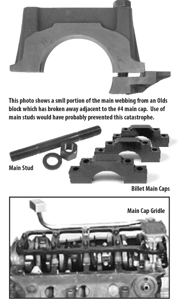 Bottom end upgrades including main studs, billet main caps, and a main cap girdle can prevent broken main webbing and other issues.